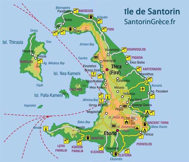 Carte de Santorin île de la Grèce | Mappe de Santorini